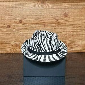 Accessories - Womens Zebra Print Fidora Beach Hat